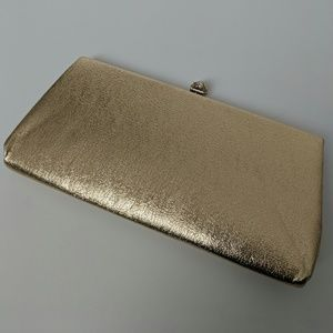 Vintage metallic gold clutch, pearl clasp, lined